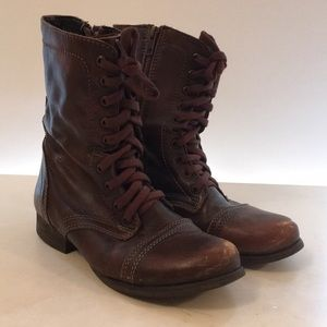 Steve Madden 'Troopa' Boots in Brown Leather